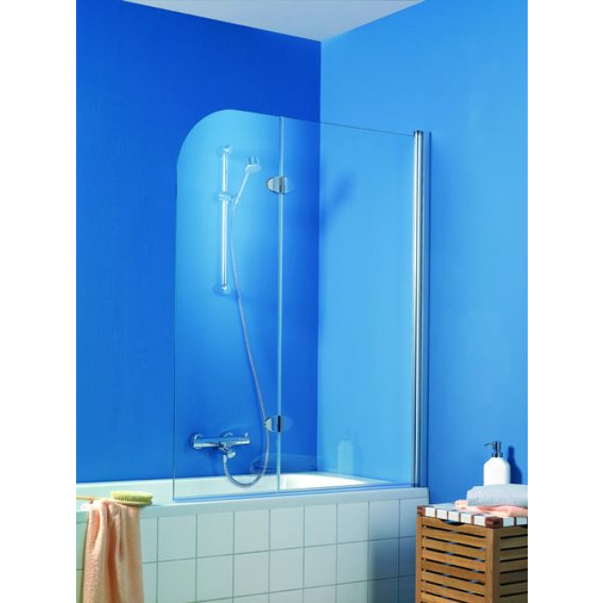 HSK Exklusiv - Badewannenfaltwand 95 Standardfarbe 1140 x 1400 mm 52 grau