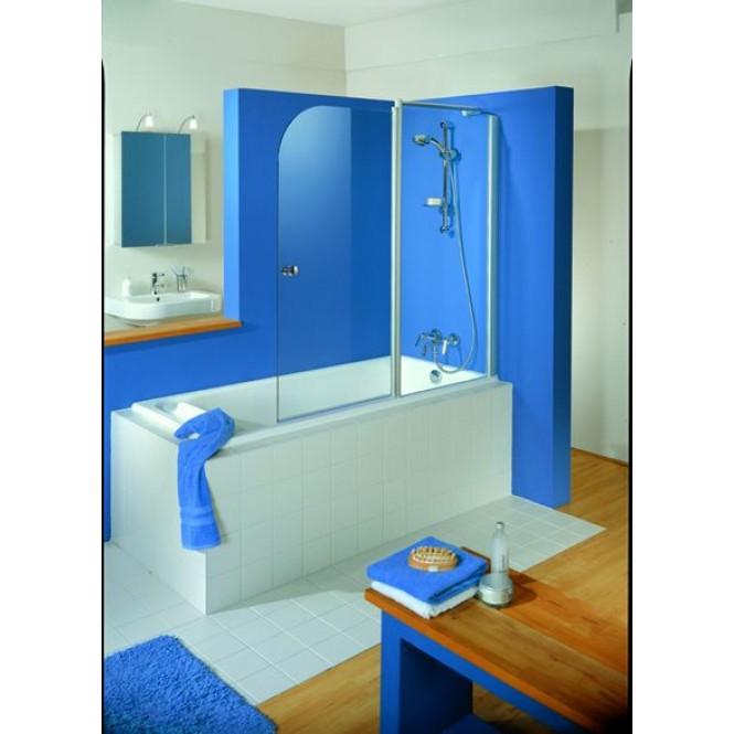 HSK Exklusiv - Badewannenfaltwand 95 Standardfarben Sonderanfertigung 100 Glasmattierung mittig