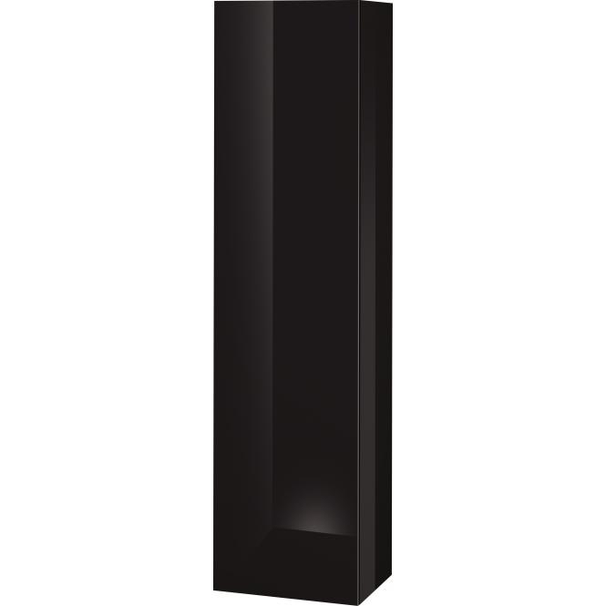 Duravit L-Cube - Halbhochschrank 500 x 2000 x 363 mm mit 1 Tür, 1 Holzfachboden, 3 Glasfachböden & Anschlag links schwarz hochglanz