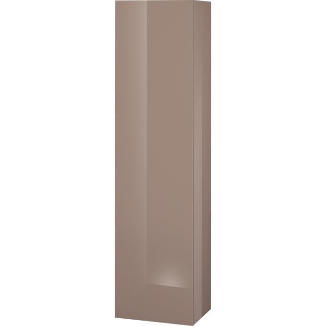 Duravit L-Cube - Halbhochschrank 500 x 2000 x 363 mm mit 1 Tür, 1 Holzfachboden, 3 Glasfachböden & Anschlag links cappuccino hochglanz