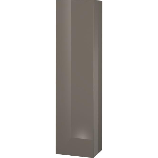 Duravit L-Cube - Halbhochschrank 500 x 2000 x 363 mm mit 1 Tür, 1 Holzfachboden, 3 Glasfachböden & Anschlag links flannel grey hochglanz