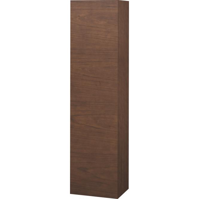 Duravit L-Cube - Halbhochschrank 500 x 2000 x 363 mm mit 1 Tür, 1 Holzfachboden, 3 Glasfachböden & Anschlag rechts amerikanisch nussbaum