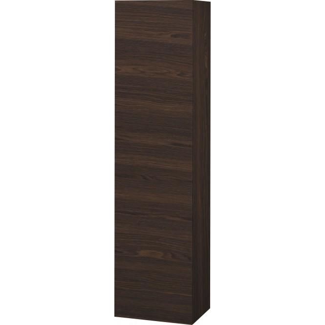 Duravit L-Cube - Halbhochschrank 500 x 2000 x 363 mm mit 1 Tür, 1 Holzfachboden, 3 Glasfachböden & Anschlag rechts nussbaum gebürstet