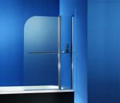 HSK Exklusiv - Badewannenaufsatz 2-teilig 41 chromoptik 1000 x 1400 100 Glasmattierung mittigt