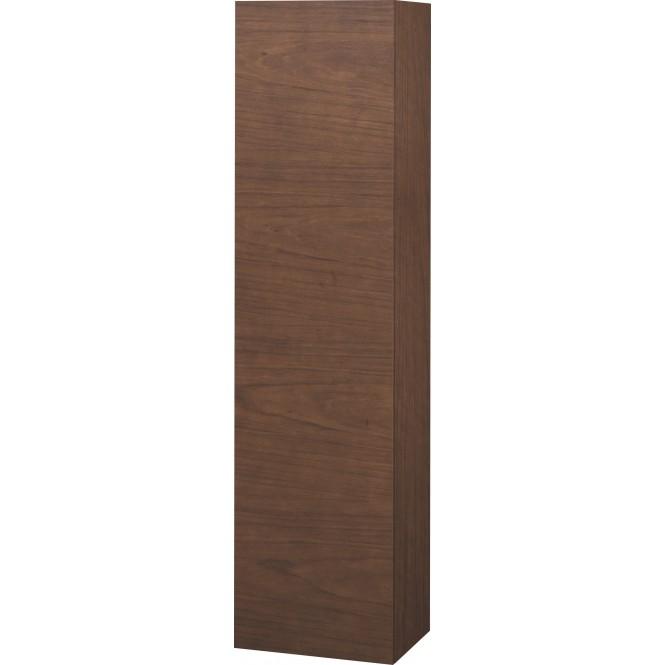 Duravit L-Cube - Halbhochschrank 500 x 2000 x 363 mm mit 1 Tür, 1 Holzfachboden, 3 Glasfachböden & Anschlag links amerikanisch nussbaum