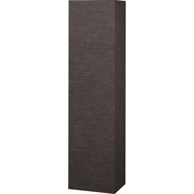 Duravit L-Cube - Halbhochschrank 500 x 2000 x 363 mm mit 1 Tür, 1 Holzfachboden, 3 Glasfachböden & Anschlag rechts eiche dunkel gebürstet