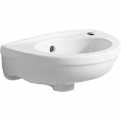 Geberit Fidelio - Handwaschbecken 370 x 250 mm mit Hahnloch mit Überlauf weiß mit KeraTect