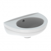 Geberit Fidelio - Handwaschbecken 370 x 250 mm ohne Hahnloch mit Überlauf weiß mit KeraTect