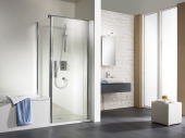 HSK - Revolving door for the same high sidewall 01 alu silver matt 750 x 1850 mm, 52 gray