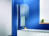 HSK - Bath screen 1-piece, 01 Alu silver matt 750 x 750 x 1400, 100 Glasses art center