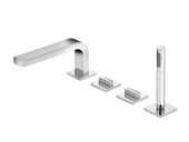 Keuco Edition 11 - 4-hole deck-mounted bathtub fitting with 2 outlets chrome