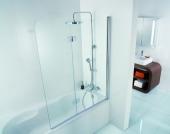 HSK - Bath screen 2-part, 41 chrome look custom-made, 50 ESG clear bright