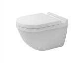 Duravit Starck 3 - Wand-Tiefspül-WC Set rimless mit Durafix und WC-Sitz mit Absenkautomatik weiß Toilette