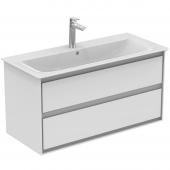 Ideal Standard Connect Air - Waschtischunterschrank mit 2 Auszügen weiß glänzend / weiß matt