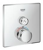 Grohe Grohtherm SmartControl - Thermostat eckig ein Absperrventil chrom
