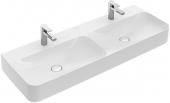 Villeroy & Boch Finion - Doppelwaschtisch 1300 x 470 mm ohne Überlauf stone white mit CeramicPlus