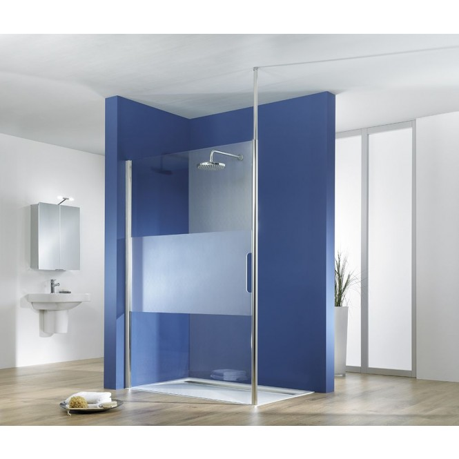 HSK Walk In Easy 1 - Walk clear light in Easy 1 front element Freestanding 1000 x 2000 mm, 01 aluminum silver matt, 50 ESG