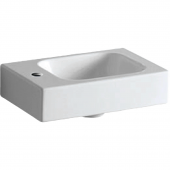 Geberit iCon xs - Handwaschbecken 380 x 280 mm mit Hahnloch links ohne Überlauf weiß mit KeraTect