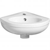 Geberit Fidelio - Eckhandwaschbecken 270 mm mit Hahnloch mit Überlauf weiß