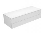 Keuco Edition 400 - Sideboard 31766 4 Auszüge weiß hochglanz / Glas anthrazit klar