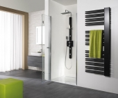 HSK - A folding hinged door niche, 41 custom-made chrome-look, 100 Glasses art center
