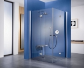 HSK - Corner entry with folding hinged door, 41 x 1850 mm chrome look 900/900, 50 ESG clear bright