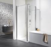HSK - Swing-away side wall to revolving door, 01 Alu silver matt 750 x 1850 mm, 52 gray
