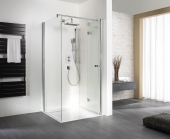 HSK - Sidewall to folding hinged door, 01 Alu silver matt 900 x 1850 mm, 100 Glasses art center