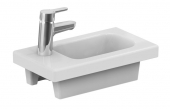 Ideal Standard Connect Space - Hand-rinse basin 450x250mm with 1 tap hole on left side without overflow white with IdealPlus