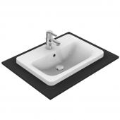 Ideal Standard Connect - Drop-in washbasin for Console 580x430mm with 1 tap hole with overflow white with IdealPlus
