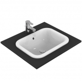 Ideal Standard Connect - Drop-in washbasin for Console 500x380mm without tap holes with overflow white with IdealPlus