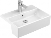 Villeroy & Boch Memento - Semi-recessed Washbasin 550x425 white with CeramicPlus