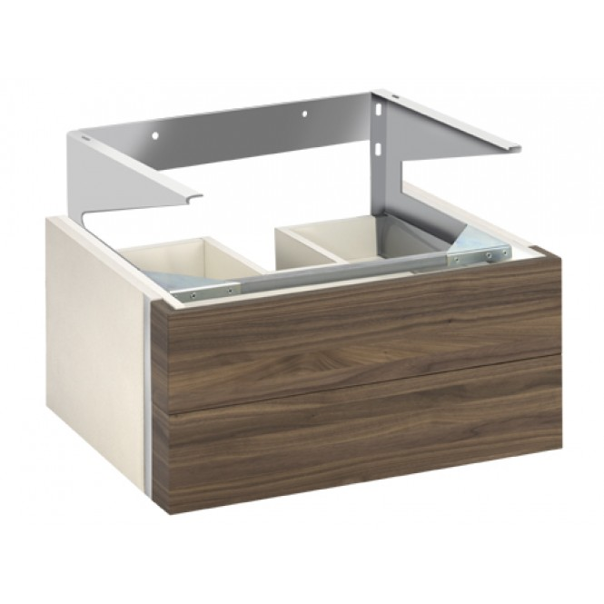 Keuco Edition 300 - Vanity unit 30364, 2 front drawers, sahara / white high gloss