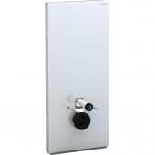 Geberit Monolith Plus - Sanitärmodul für Wand-WC 1140 mm mit Anschlussstutzen Glas weiss