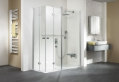HSK - Corner entry with folding hinged door and fixed element 01 aluminum silver matt 1400/900 x 1850 mm, 54 Chinchilla
