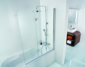 HSK - Bath screen 2-part, 41 chrome-look 1140 x 1400 50 ESG clear bright