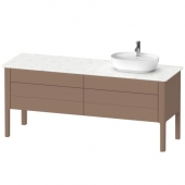 DURAVIT Luv - Wastafelonderbouw voor console with 4 drawers & 1 basin cut-out right 1733x743x570mm almond silk matt/almond silk matt