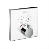 Hansgrohe ShowerSelect - Glas Thermostat für 2 Funktionen Highflow chrom / weiß