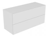 Keuco Edition 11 - Sideboard 31327 2 Front - Auszüge weiß / Glas weiß satiniert