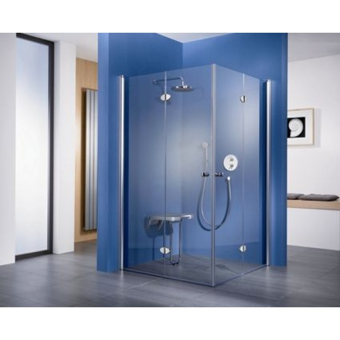 HSK - Corner entry with folding hinged door, 41 x 1850 mm chrome look 750/900, 50 ESG clear bright