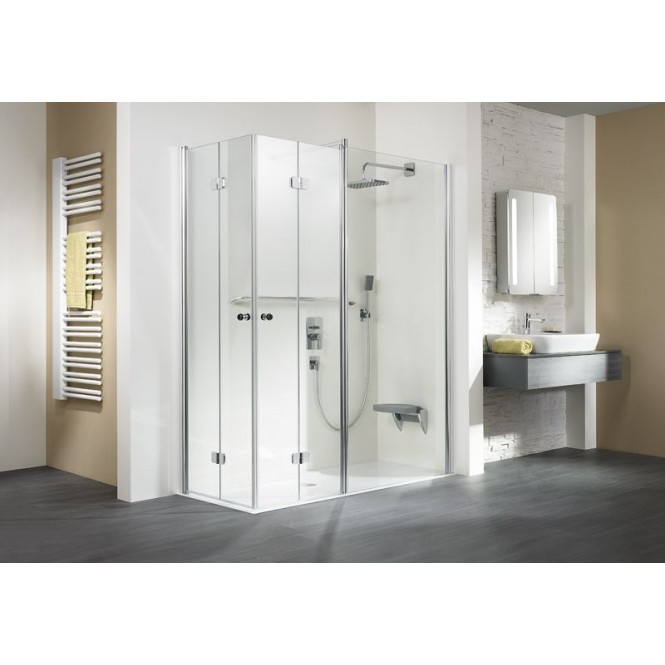 HSK - Corner entry with folding hinged door and fixed element 01 aluminum matt silver custom-made, 50 ESG clear bright