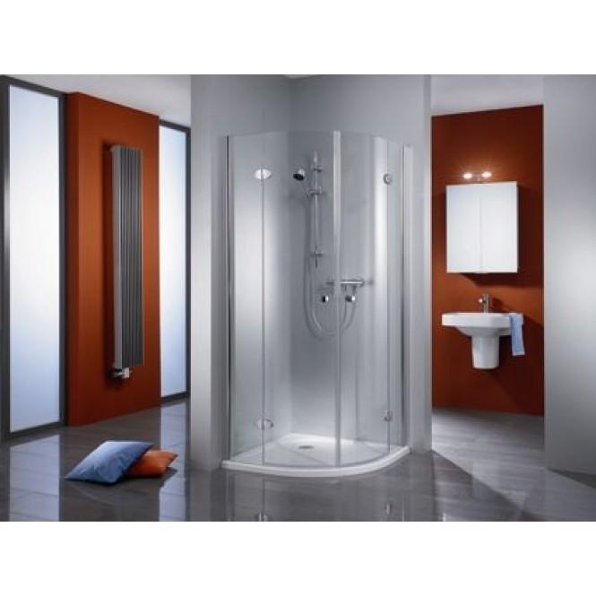 HSK - Circular shower quadrant, 4-piece, Premium Classic 1000/900 x 1850 mm, 41 chrome-look, 100 Glasses art center