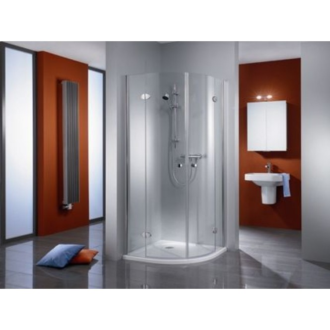 HSK - Circular shower quadrant, 4-piece, Premium Classic 1200/900 x 1850 mm, 41 chrome-look, 100 Glasses art center