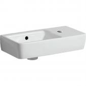 Geberit Renova Nr. 1 Comprimo - Handwaschbecken 400 x 250 mm Hahnloch rechts weiß mit KeraTect