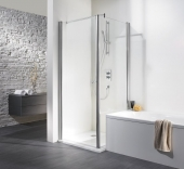 HSK - Swing-away side wall to revolving door, 01 Alu silver matt 750 x 1850 mm, 100 Glasses art center