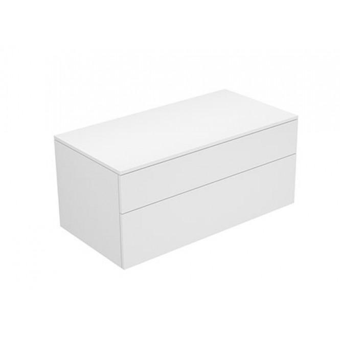 Keuco Edition 400 - Sideboard 31753 2 Auszüge wei ß Hochgl / Glas anthrazit klar