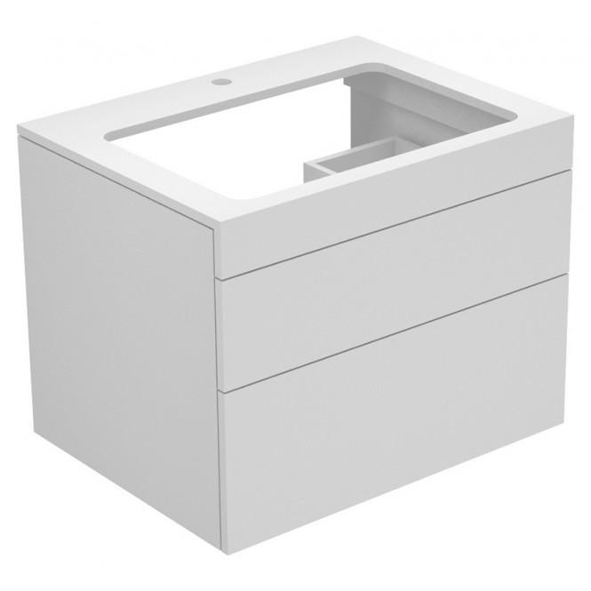 Keuco Edition 400 - Waschtischunterbau mit Hahnlochbohrung weiß / Glas weiß klar