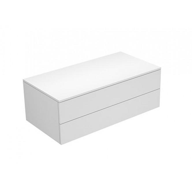 Keuco Edition 400 - Sideboard 2 Auszüge weiß hochglanz / Glas trüffel klar