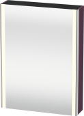 Duravit XSquare - SPS mit Beleuchtung 800x600x155 aubergine seidenmatt Türanschlag links