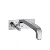 AXOR Citterio - Enda spak tvättställsblandare för väggmontering med ett utsprång på 220 mm med icke-stängbar avloppsventil krom